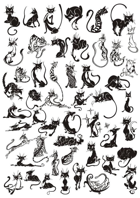 cat vector, silhouette, cat tattoo, black vector
