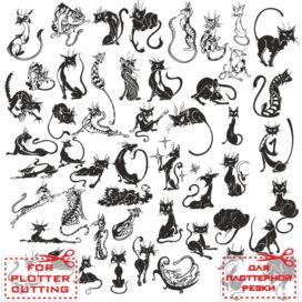 Кошка векторы тату: Силуэт кошки № 01