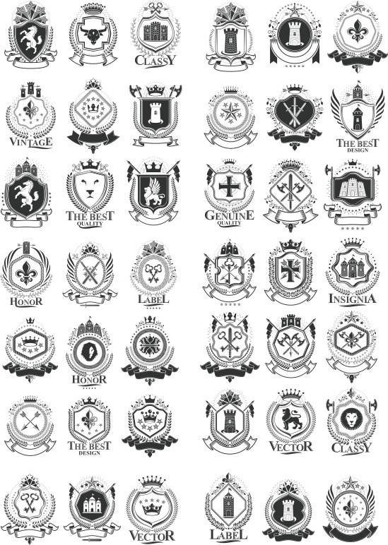 heraldic vector, black vector, heraldic shield, vector collection of heraldry