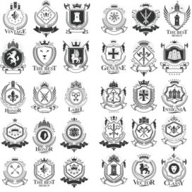 Vector collection of heraldry # 01: heraldry vector free download.