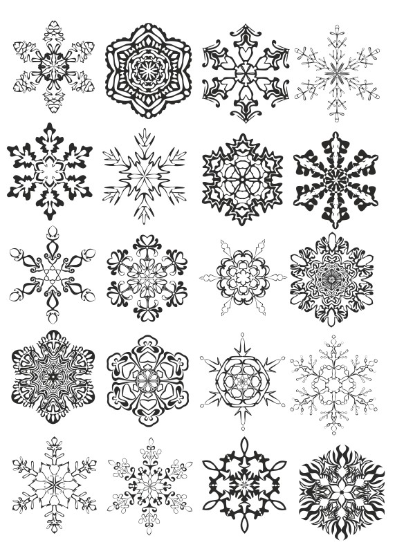 Snowflakes vector, Laser engraving,  black vector