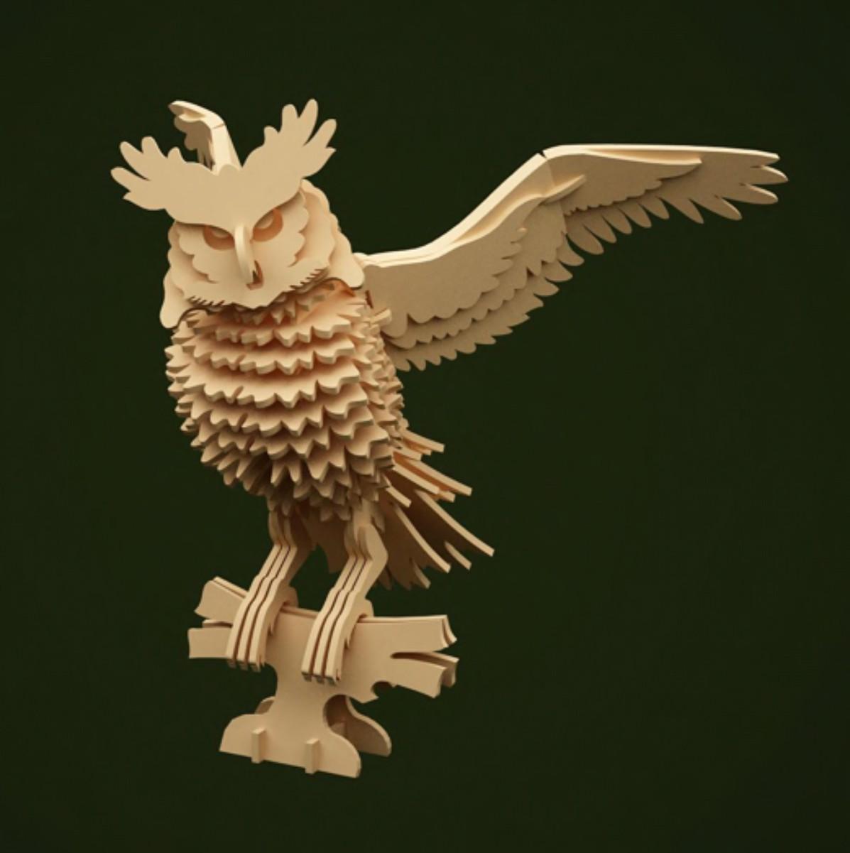 laser cut models owl download free 3d constructor