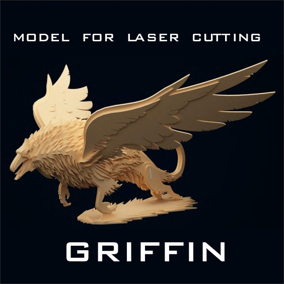 Model for laser cutting, griffin, laser cut models