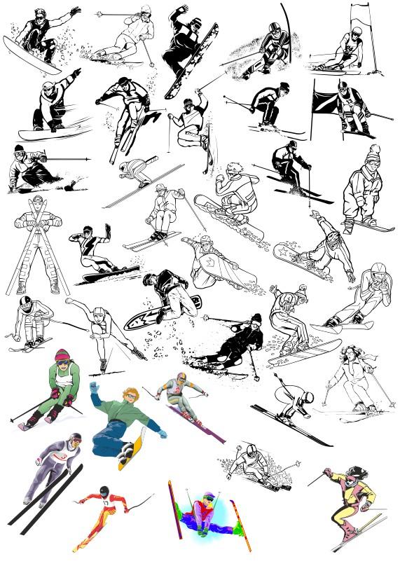 зимний спорт вектор, спорт вектор, зимние виды спорта вектор, горные лыжи вектор, сноуборд вектор