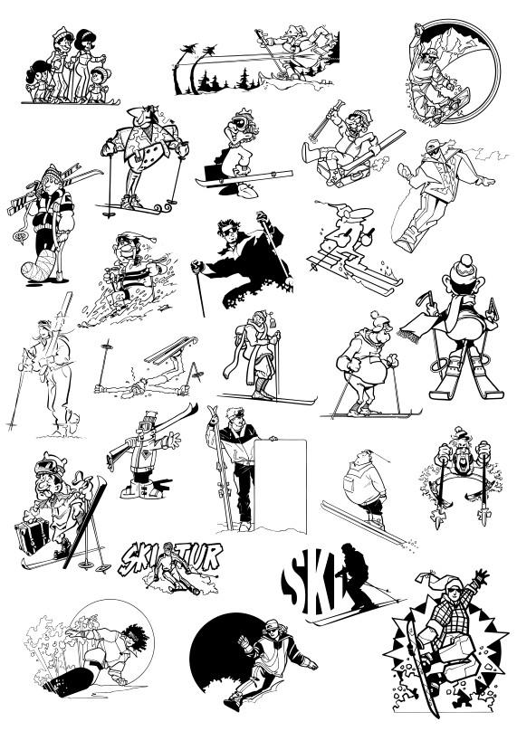 Зимние виды спорта вектор, зимний спорт вектор, спорт вектор, вектор спорт