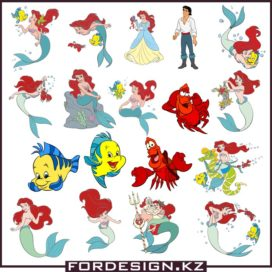 Ariel Disney vector images collection 02 download free