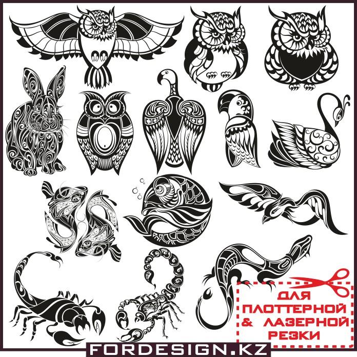 Узоры в виде животных, животные вектор, птица вектор, векторные птицы, животные узор, животные в виде узоров, вектор для плоттера