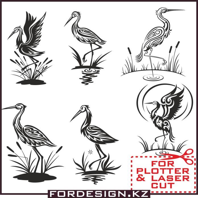 stork vector, bird vector, for plotter, vector birds, vector сторк