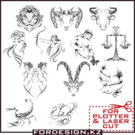 Zodiac vector: signs of the zodiac download free in the formats cdr, dxf, ai, eps