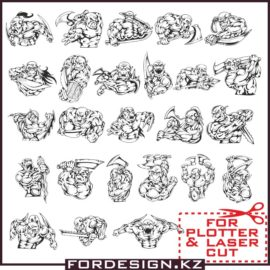 Vector Orcs large selection: Orc files for plotter cutting