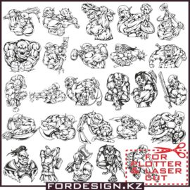 Orc Vector: A large selection of vector orcs for plotter and laser cutting