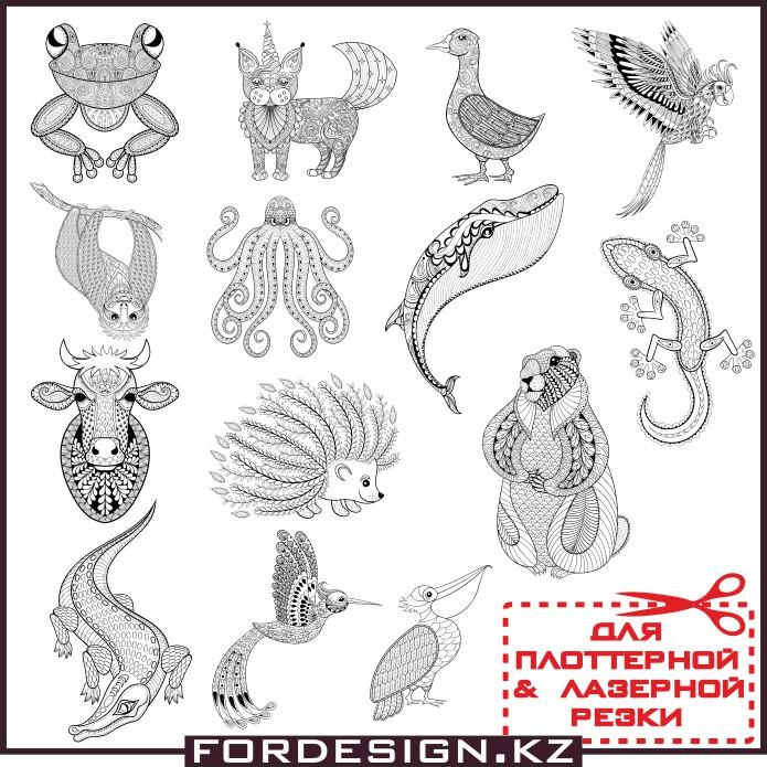 Узоры животных, животные в виде узоров, животные вектор, животные для плоттерной резки, узоры тату животные