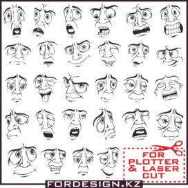 Smileys vector: Mens face facial expression part 2 free download!