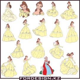 Векторные принцессы: Диснеевская Бель скачать бесплатно!