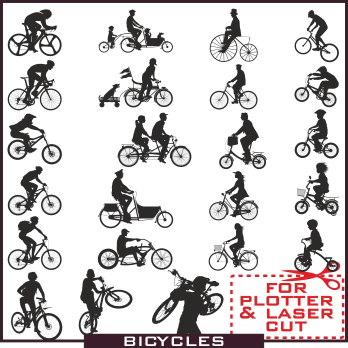 Silhouette bicyclist, bicycle vector,Silhouette vector