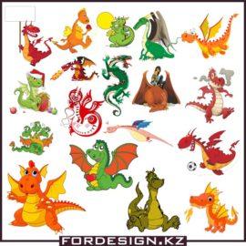 Векторные драконы скачать бесплатно цветной клипарт