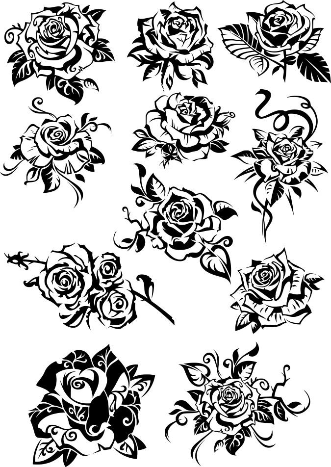 черно белые розы, роза вектор, скачать векторные розы, тату розы