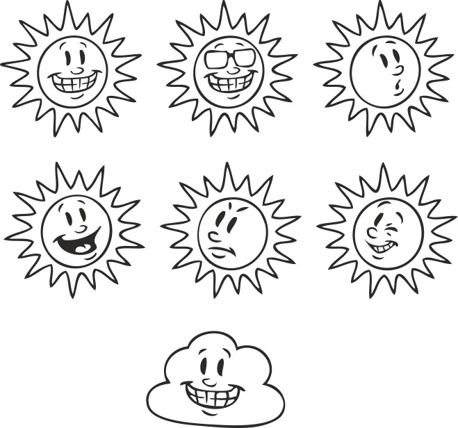 смайлик солнце, векторные смайлы, скачать смайлы, векторные картинки, скачать бесплатно