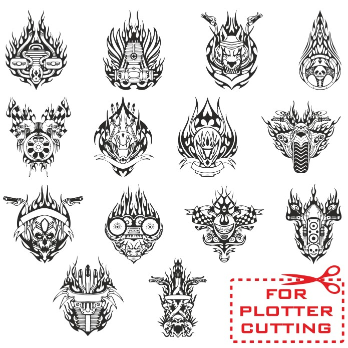 Mockups stickers on motorcycle, vector stickers, sticker patterns for motorcycle, free vector cliparts