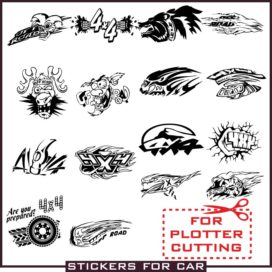 Stickers for jeep 4×4 vector clipart download free cdr, dxf