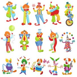 Funny clowns: children clipart.