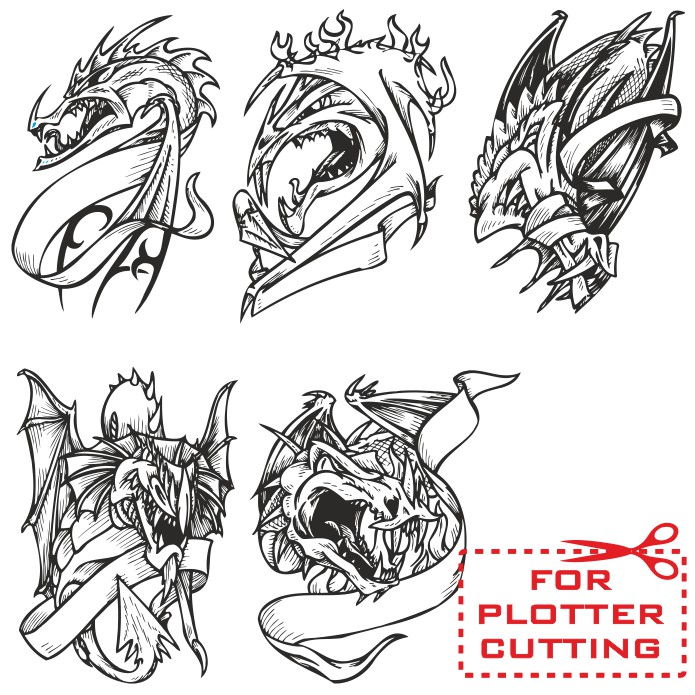Vector dragons, dragon vector, vector dragon, free vector clipart, dragon tattoo, dragon clipart free