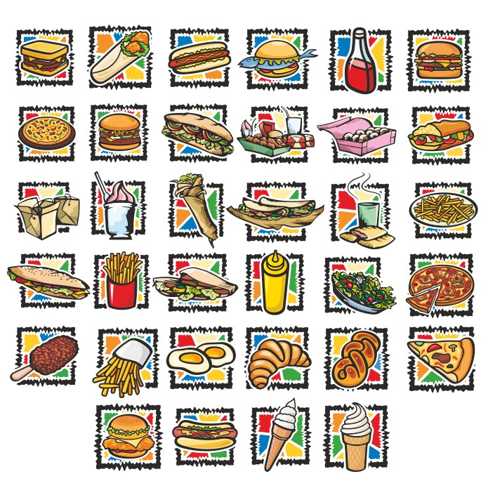 Fast food icons, vector icons, vector icons, free vector clipart images, icons food