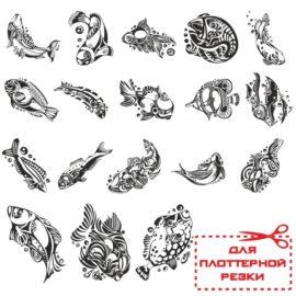 Сборник для плоттерной резки: Эскизы разных рыб.