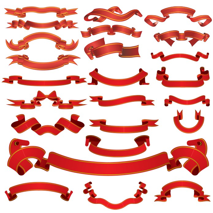 Ribbon vector clip art, vector ribbon, ribbon vector, free vector clip art, red ribbon vector