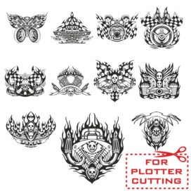Mock-ups of motorcycle stickers collection #3