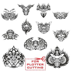 Mock-ups of motorcycle stickers collection #4