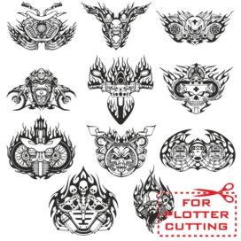 Mock-ups of motorcycle stickers collection #5