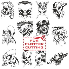 Vector collection of aliens for plotter cutting
