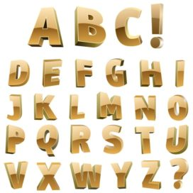 Golden alphabet: Beautiful golden letters of the alphabet