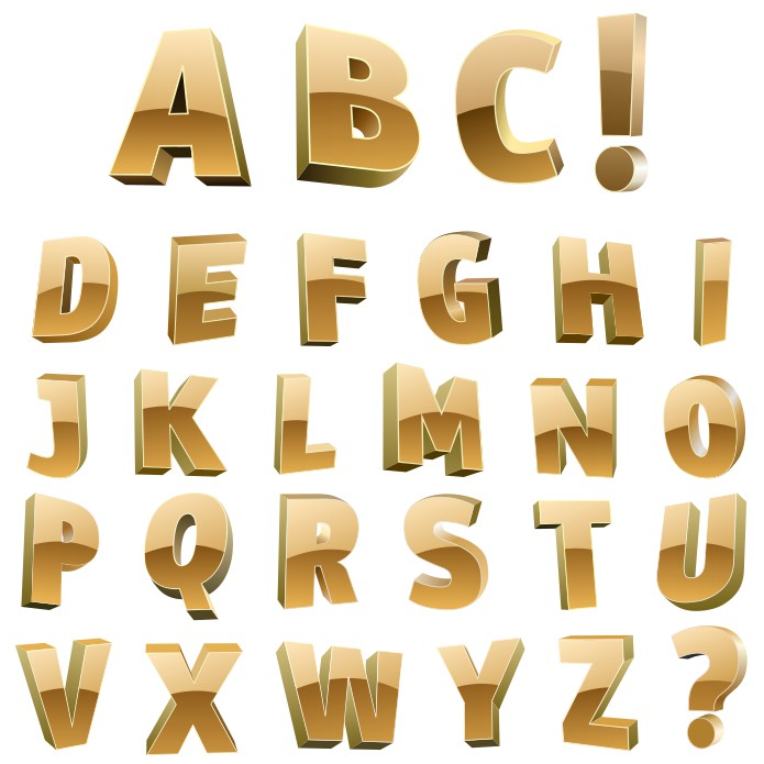 золотой алфавит, золотые буквы