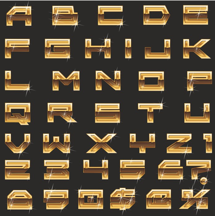English alphabet as gold bars