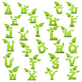 English alphabet in the form of plants