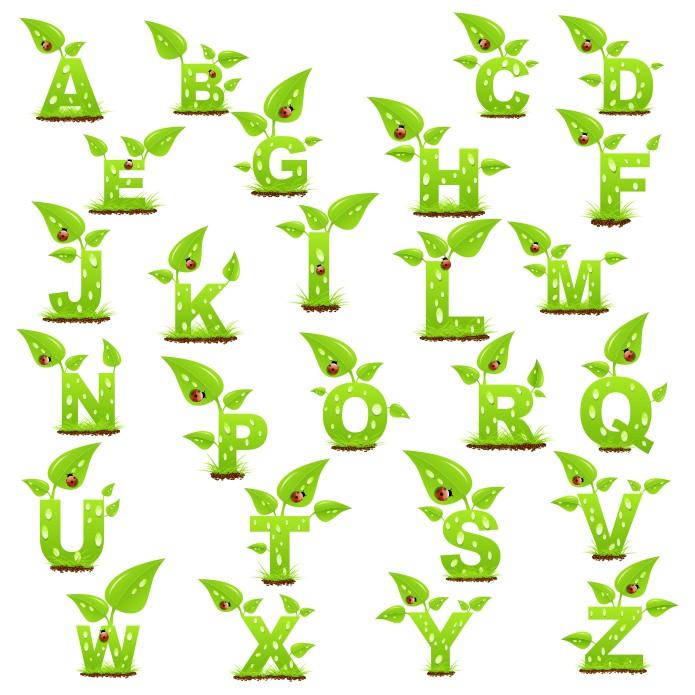 зеленый алфавит, английский алфавит., алфавит в векторе