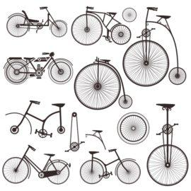 Силуэты ретро велосипедов