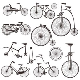Silhouettes of retro bicycles
