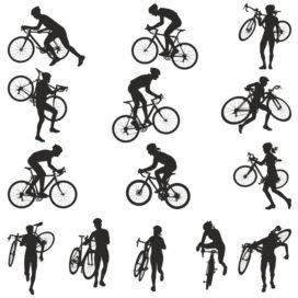 Сборник векторных силуэтов велосипедистов