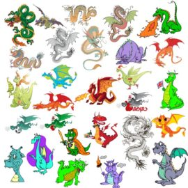 Vector images of dragons