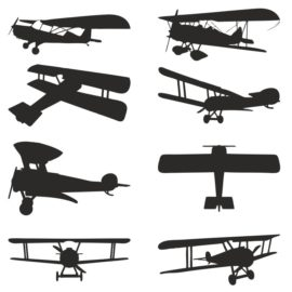 Vector silhouettes of biplanes