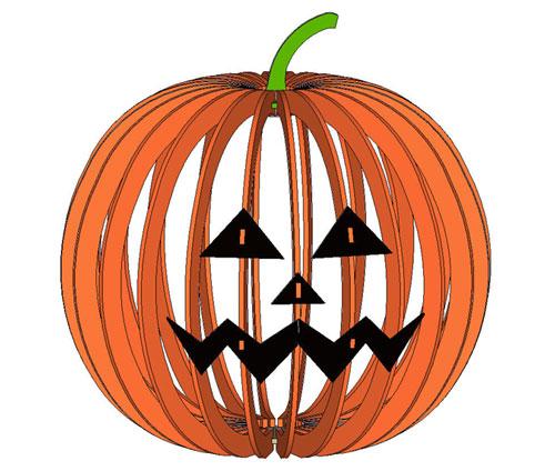 Тыква абажур на Хеллоуин макет для лазерной резки