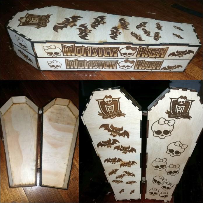 Гроб для монстер хай векторный макет для лазерной резки фанеры