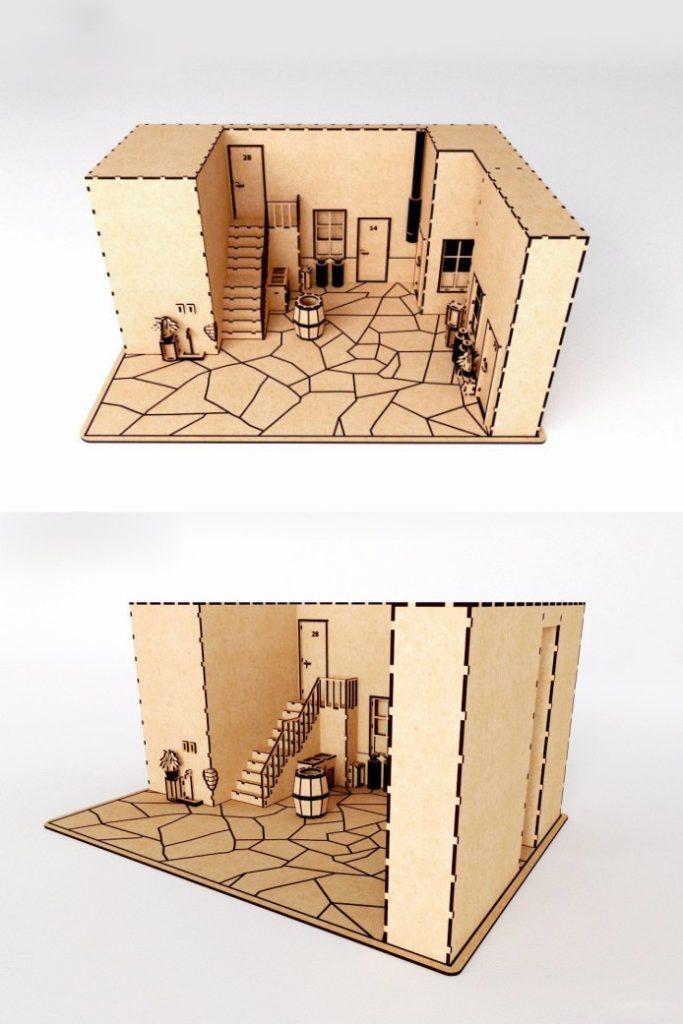 Векторный макет кукольного домика