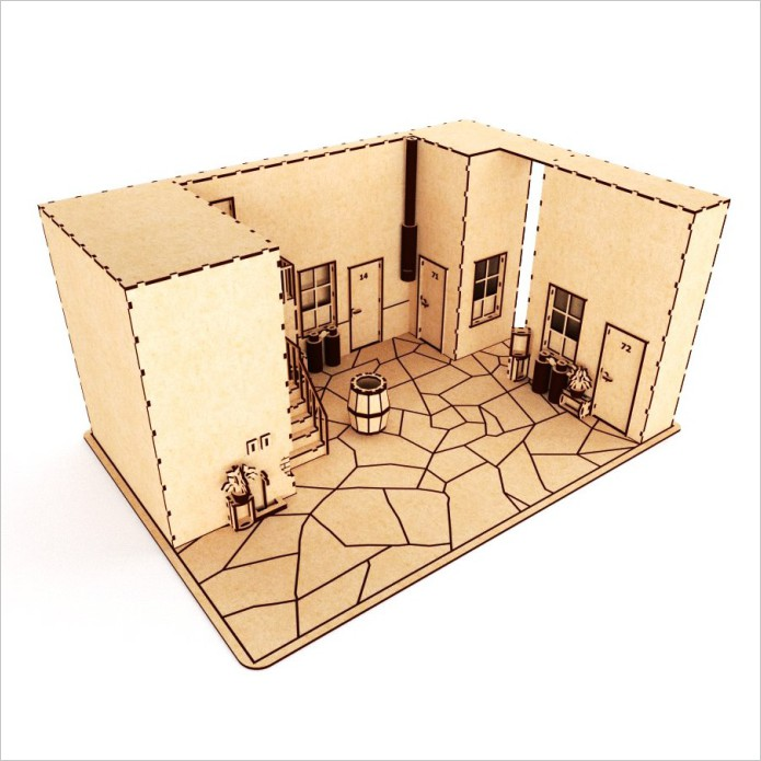 Dollhouse model for laser cutting plywood