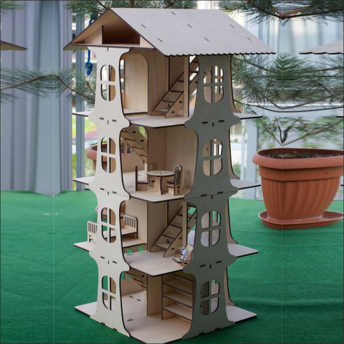 Dollhouse design, 4-storey house for dolls