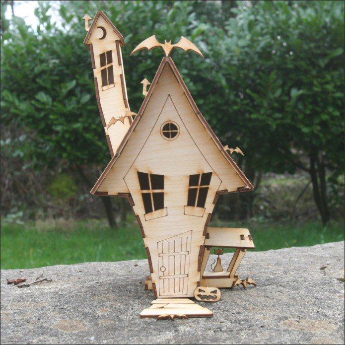 Охотничий домик на Хеллоуин векторный макет для лазерной резки