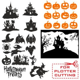 А cool collection of vector images for Halloween for plotter cutting